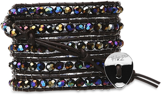 Times Square- Black Glass by H2Z - Wrap Bracelets - 35 Inch Iridescent Black Glass Beads w/  Brown Leather Wrap Bracelet