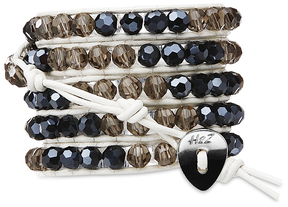 Dusk-Smoky & Black Glass by H2Z - Wrap Bracelets - 35 Inch Smoky and Black Glass Beads w/ White  Leather Wrap Bracelet