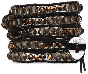 Misty Copper-Smoky, Cop Mix by H2Z - Wrap Bracelets - 35 Inch Misty Glass and Copper  Beads w/  Brown Leather  Wrap Bracelet