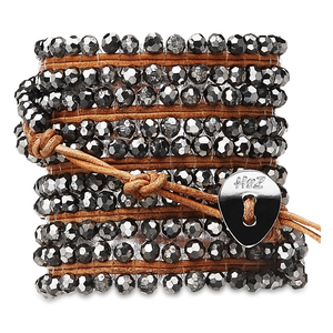 Bronze Bling- Silver Glass by H2Z - Wrap Bracelets - 35 Inch Metallic Silver Glass Beads w/  Tan Leather Wrap Bracelet