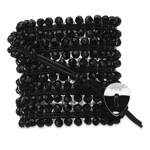 Lucious Licorice-Black Glass by H2Z - Wrap Bracelets - 35 Inch Black Glass  Beads w/ Black Leather Wrap Bracelet