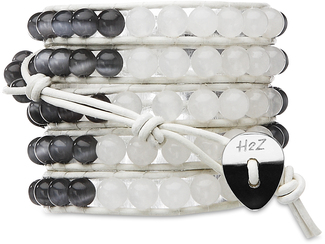Ebony & Ivory- Cat's Eye Mix by H2Z - Wrap Bracelets - 35 Inch Smoky and Alabaster Beads w/ White Leather Wrap Bracelet