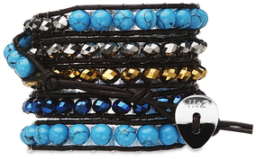 Royalty-Tur & Sil Gld, Blue by H2Z - Wrap Bracelets - 35 Inch Turquoise, Silver, Gold and Blue Glass Beads w/ Brown Leather Wrap Bracelet