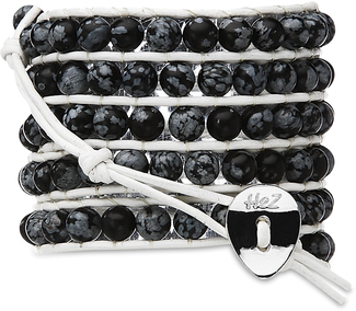 Cement-Black Semi Prec Bead by H2Z - Wrap Bracelets - 35 Inch Black Semi-Precious Stones w/ White Leather Wrap Bracelet