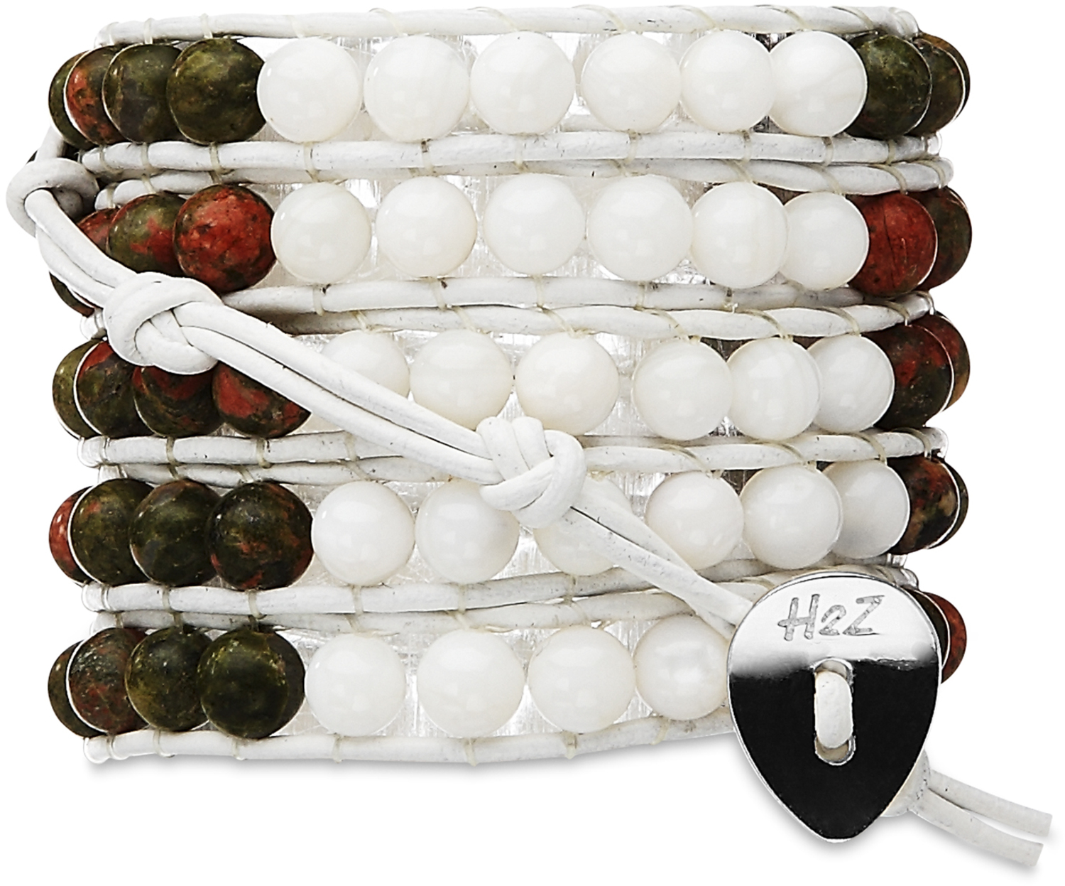 Olivine-Olive & White Shell by H2Z - Wrap Bracelets - Olivine-Olive & White Shell - 35 Inch Olive Semi-Precious  Stones and White Shell Beads w/ White Leather Wrap Bracelet
