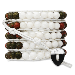 Olivine-Olive & White Shell by H2Z - Wrap Bracelets - 35 Inch Olive Semi-Precious  Stones and White Shell Beads w/ White Leather Wrap Bracelet