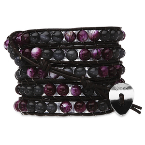 French Lilac-Cat's Eye Mix by H2Z - Wrap Bracelets - 35 Inch Smoky and Purple Beads w/ Brown Leather Wrap Bracelet