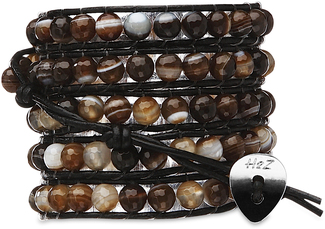 Sienna-Brown Agate by H2Z - Wrap Bracelets - 35 Inch Brown Agate Beads w/ Black Leather Wrap Bracelet