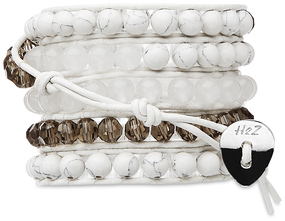 White Lights-Wht Turq Mix by H2Z - Wrap Bracelets - 35 Inch White Turquoise, Clear Glass and Alabaster Beads w/ WhiteLeather Wrap Bracelet
