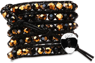 Bijou Black-Blk & Gld Crystal by H2Z - Wrap Bracelets - 35 inch Black and Gold Crystal Beads w/ Black Leather Wrap Bracelet