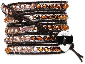 Copper Rose-Amber, Cop Mix by H2Z - Wrap Bracelets - 35 inch Amber, Pink and Copper Crystal Beads w/ Brown Leather Wrap Bracelet