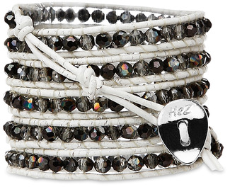 White Smoke-Silver Crystal by H2Z - Wrap Bracelets - 35 inch Semi-Silver Crystal Beads w/ White Leather Wrap Bracelet