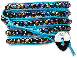 Bahama Blue-Hematite Crystal by H2Z - Wrap Bracelets - 35 inch Iridescent Hematite Crystal Beads w/ Light Blue Leather Wrap Bracelet