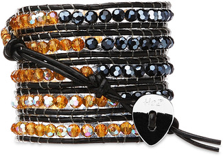 Midnight Amber- Herm & Amber by H2Z - Wrap Bracelets - 35 inch Iridescent Hematite and Amber Crystal Beads w/ Black Leather Wrap Bracelet