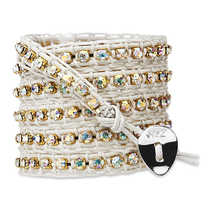 Celebrate-Irid Crystal Gems by H2Z - Wrap Bracelets - 35 inch Iridescent Crystal Gems w/  White Leather Wrap Bracelet