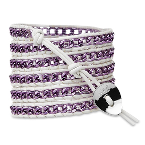 Wild Orchid-Pur Alum Chain by H2Z - Wrap Bracelets - 35 inch Purple Aluminum Chain w/  White Leather Wrap Bracelet