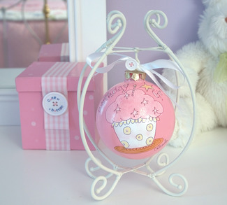 "Birthday Girl by Cute as a Button - 4"" Glass Ball/Cupcake/St"