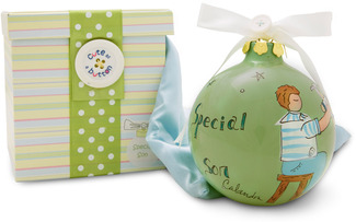 "Special Son by Cute as a Button - 4"" Glass Ball/Light Gree"