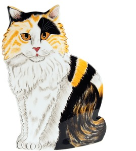 "Tina - Long Hair Calico by Rescue Me Now - 11.75"" Large Cat Vase"