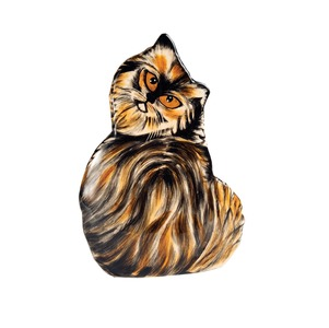 "Lottie - Tortoise Shell by Rescue Me Now - 8.5"" Small Cat Vase"