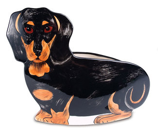 "Macy - Dachshund by Rescue Me Now - 9.5"" x 12"" Dog Planter Vase"
