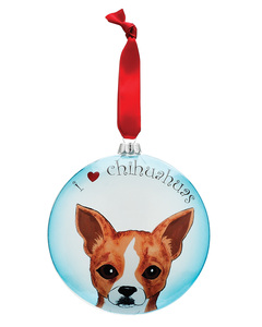 "Peanut - Chihuahua by Rescue Me Now - 5"" Glass Christmas Ornament"