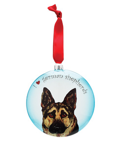 "Rocky - German Shepherd by Rescue Me Now - 5"" Glass Christmas Ornament"