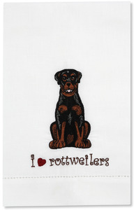 George - Rottweiler by Rescue Me Now - Tea Towel