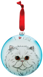 "Playful - Persian by Rescue Me Now - 5"" Glass Christmas Ornament"
