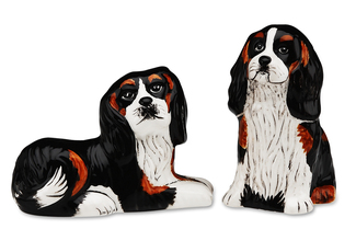 "Devilin & Percy- Cavalier by Rescue Me Now - 3.25"" Dog S & P Shaker Set"