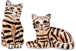 "Tom & Penelope- Brown Tabby by Rescue Me Now - 3.25"" Cat S&P Shaker"
