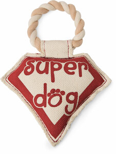 "Super Dog by Pavilion's Pets - 9.5"" Canvas Dog Toy on Rope"