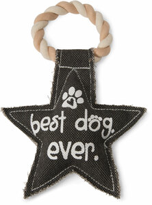 "Best Dog Ever by Pavilion's Pets - 9.5"" Canvas Dog Toy on Rope"