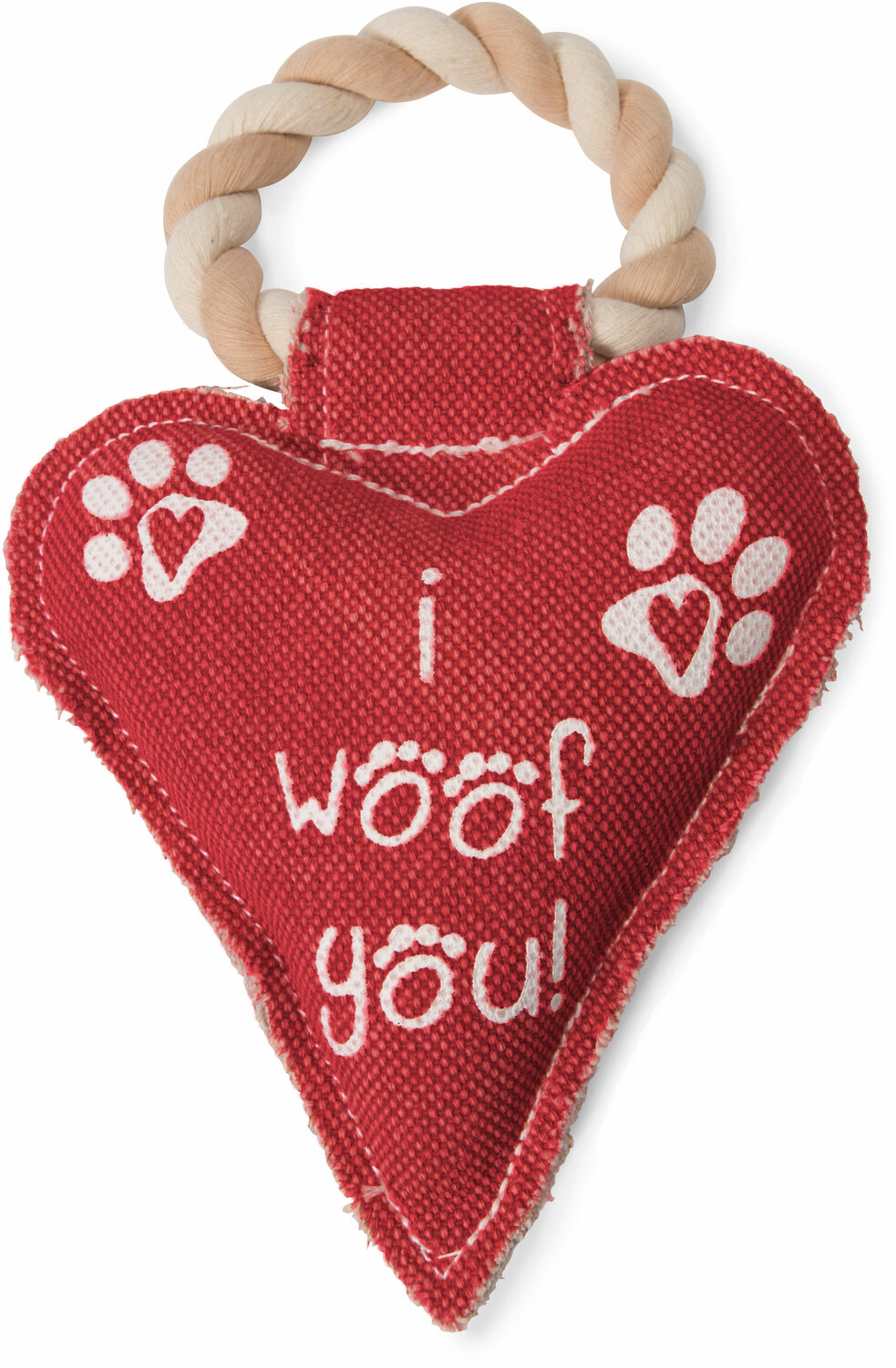 Heart Woof by Pavilion's Pets - I Woof You Heart Shaped Sturdy Canvas Tug of War Dog Toy