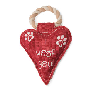 "Heart Woof by Pavilion's Pets - 10"" Canvas Dog Toy on Rope"