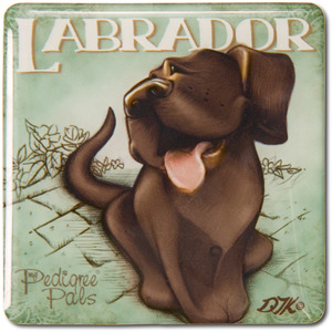 "Chocolate Lab by My Pedigree Pals - 2.5"" Square Magnet with Easel Back"