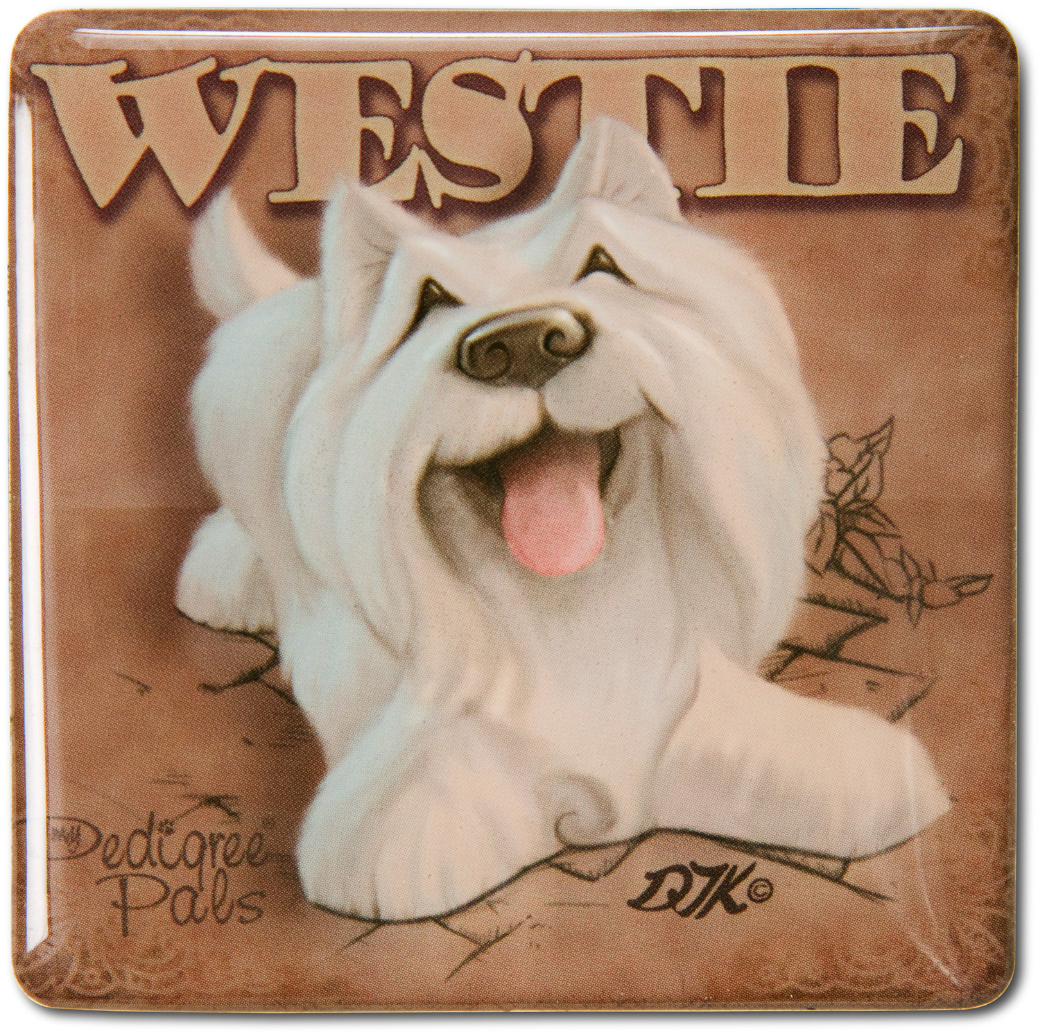 "West Highland Terrier by My Pedigree Pals - West Highland Terrier - 2.5"" Square Magnet with Easel Back"