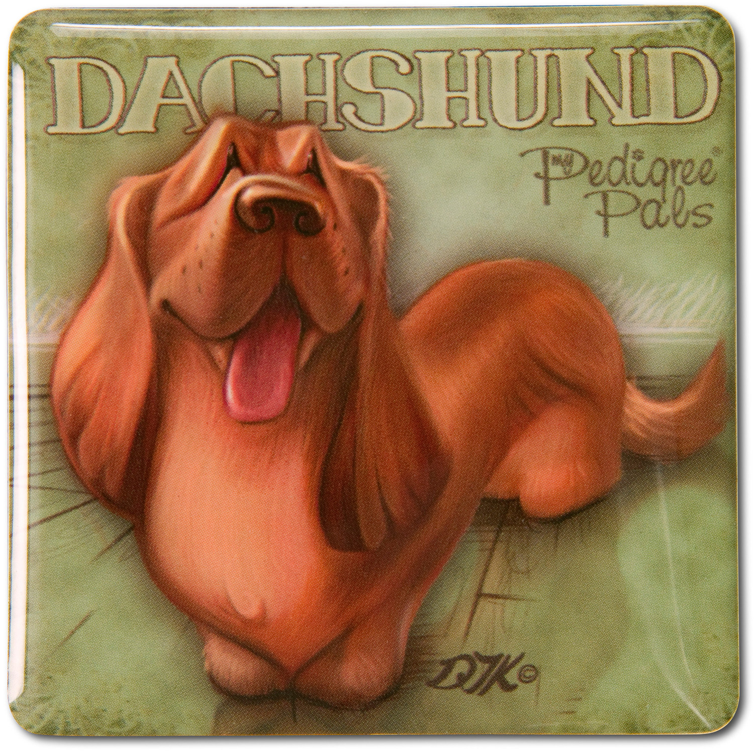 "Dachshund by My Pedigree Pals - Dachshund - 2.5"" Square Magnet with Easel Back"