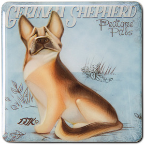 "German Shepherd by My Pedigree Pals - 2.5"" Square Magnet with Easel Back"