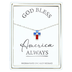 "God Bless by Red, White, & Blue Crew - 16"" - 18"" Rhodium Plated Crystal  Necklace"