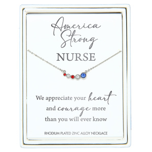 "Nurse by Red, White, & Blue Crew - 13"" - 16.5"" Rhodium Plated Crystal  Necklace"