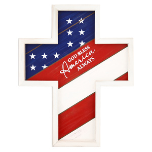 "America by Red, White, & Blue Crew - 12.75"" x 16"" Hanging Cross Plaque"