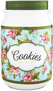 "Cottage Kitchen Rose by You & Me by Jessie Steele - 9"" Cookie Jar"