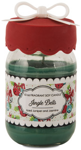 Jingle Bells by You & Me by Jessie Steele - 10 oz Soy Jar Candle Iced Juniper & Jasmine Scent