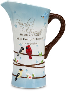 "Family & Friends by Peace Love & Birds - 9.5"" Birds & Flowers Pitcher"