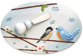 "Feathered Friends by Peace Love & Birds - 9""x6""Cheese Platter/Spreader"