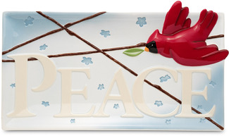 "Peace by Peace Love & Birds - 15"" x 8"" Cardinal Platter"