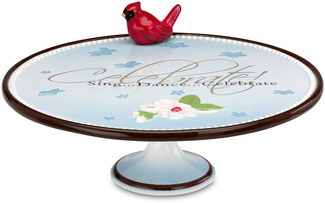 "Celebrate by Peace Love & Birds - 12"" x 4.5"" Cake Stand"