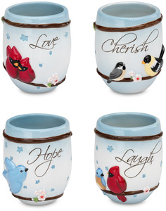 "Laugh Hope Love Cherish by Peace Love & Birds - 3"" Teacups (Set of 4)"