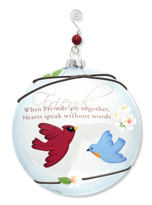 "Friends by Peace Love & Birds - 5"" Dia. Glass Ornament"